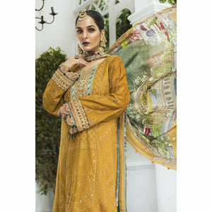 Maria.B. | Eid lawn 20 | EL-20-04-Mustard and Teal - House of Faiza