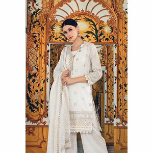 GUL AHMED - White 3 Pc Embroidered FE-151 | Printed Women's Suit