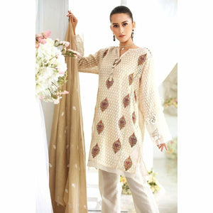 GUL AHMED - Off White 3 Pc Embroidered FE-155 | Women's Suit