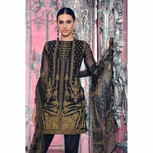 GUL AHMED - BLACK 3 PC BLENDED CHIFFON FE-79 | Embroidered, Digital Printed Women's Suit