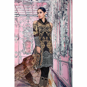 GUL AHMED - BLACK 3 PC BLENDED CHIFFON FE-81 | Embroidered, Digital Printed Women's Suit