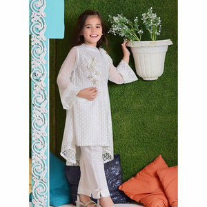 Ochre | Net Formal 2 Piece | OFW 246 White - House of Faiza