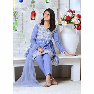 Ochre | Cotton Formal 3 Piece | OFW 257 Blue - House of Faiza