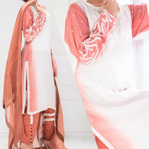 A-Meenah Gul-E-Rana Fully Stitched Women's Suit | Embroidered Raw Silk