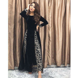A-MEENAH Embroidered Women's Suit, Velvet Shirt, duppata and trousers, Pakistani Clothes