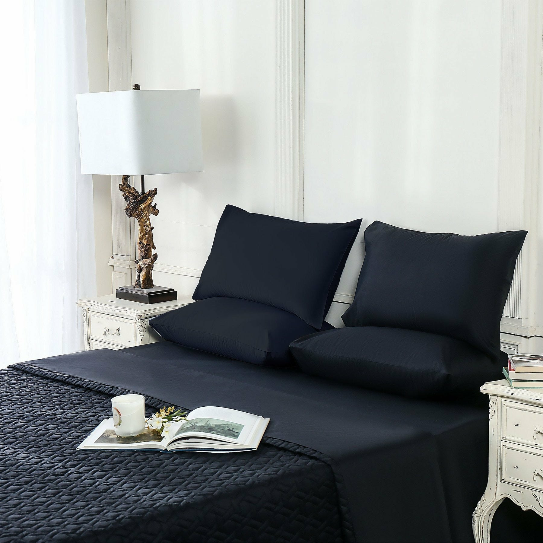 Sapphire | Bed Throw | Jet Black - House of Faiza