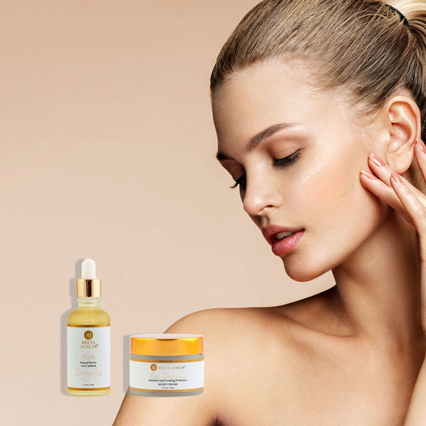 <small>Night Duo</small><p>Rose & Marula Face Serum and Jasmine & Evening Primrose Night Cream</p>