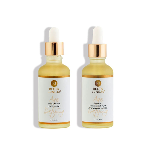 <small>Face Duo</small><p>Rose & Marula Face Serum and Rose Hip, Frankincense & Myrrh Anti-Wrinkle Face Oil</p>