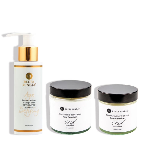 <small>Body Beautiful Trio</small><p>Age Defying Body Oil and Rose Geranium Body Cream & Balm</p>