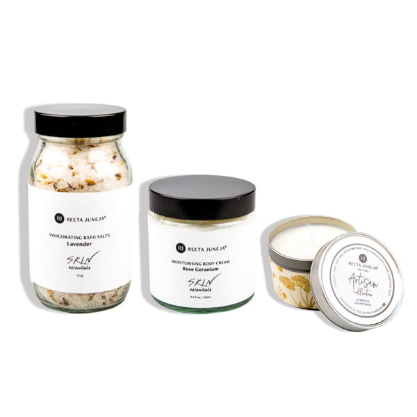 <small>Body & Bath Spa Day</small><p>Lavender Bath Salts, Rose Geranium Body Cream and Luxury Travel Candle</p>