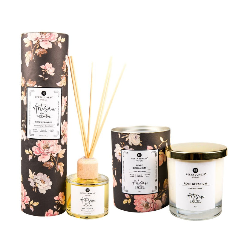 <small>Aromatic Home</small><p>Rose Geranium Luxury Room Candle and Spray</p>