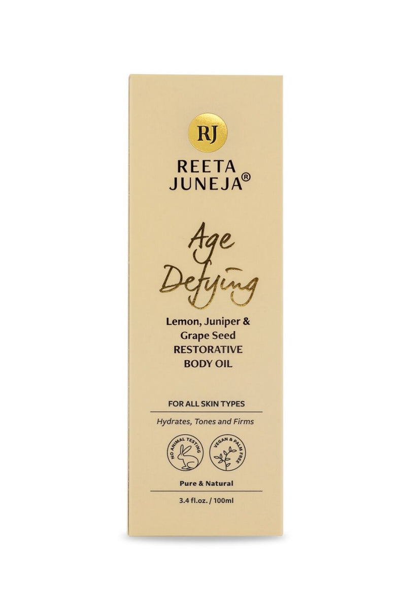 <small>Age Defying</small><p>Lemon, Juniper & Grape Seed Restorative Body Oil</p><p><small>(100 ml / 3.4 fl oz)</small></p>