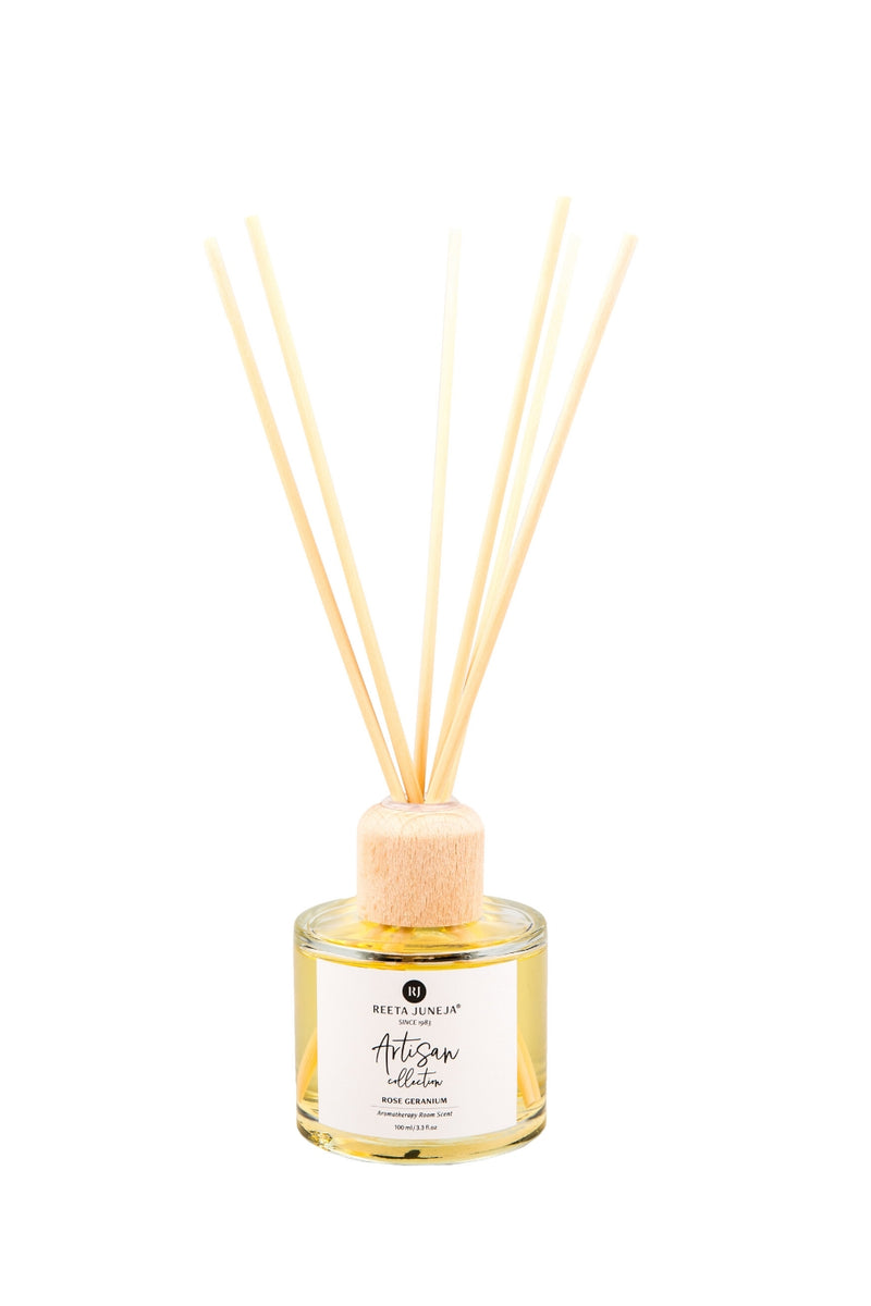 <small>Artisan Collection</small><p>Rose Geranium Aromatherapy Reed Diffuser</p><p><small>(100 ml / 3.4 fl oz)</small></p> - Reeta Juneja