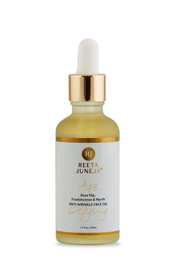 <small>Age Defying</small><p>Rose Hip, Frankincense & Myrrh Anti-Wrinkle Face Oil</p><p><small>(50 ml / 1.7 fl oz)</small></p> - Reeta Juneja