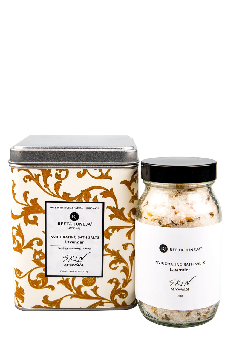 <small>Skin Essentials</small><p>Lavender Invigorating Bath Salts</p><p><small>(225 ml / 8 oz)</small></p> - Reeta Juneja