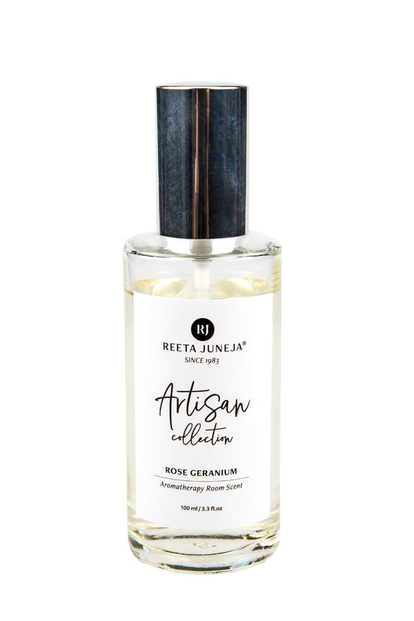 <small>Artisan Collection</small><p>Rose Geranium Luxury Room Spray</p><p><small>(100 ml / 3.4 fl oz)</small></p> - Reeta Juneja