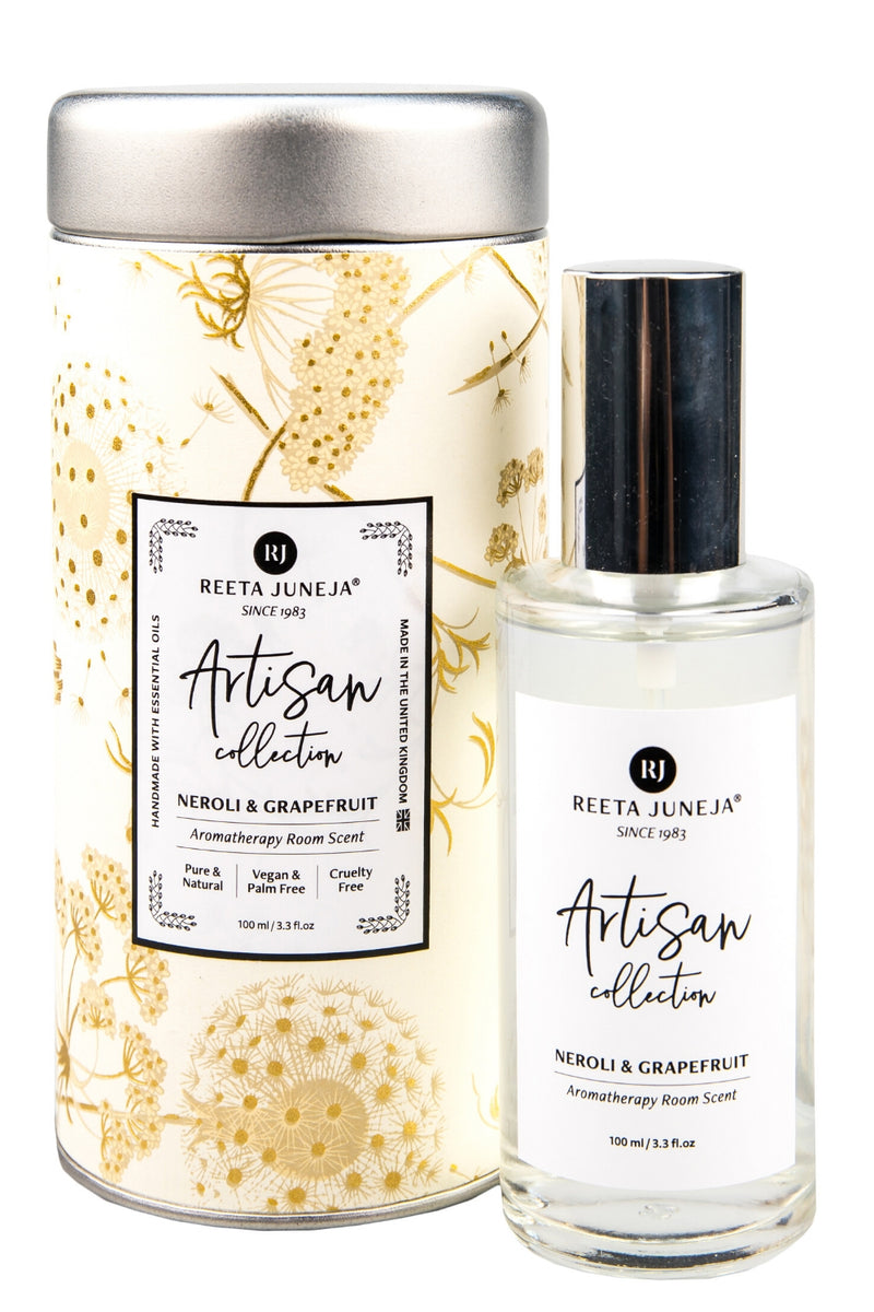 <small>Artisan Collection</small><p>Neroli & Grapefruit Luxury Room Spray</p><p><small>(100 ml / 3.4 fl oz)</small></p> - Reeta Juneja