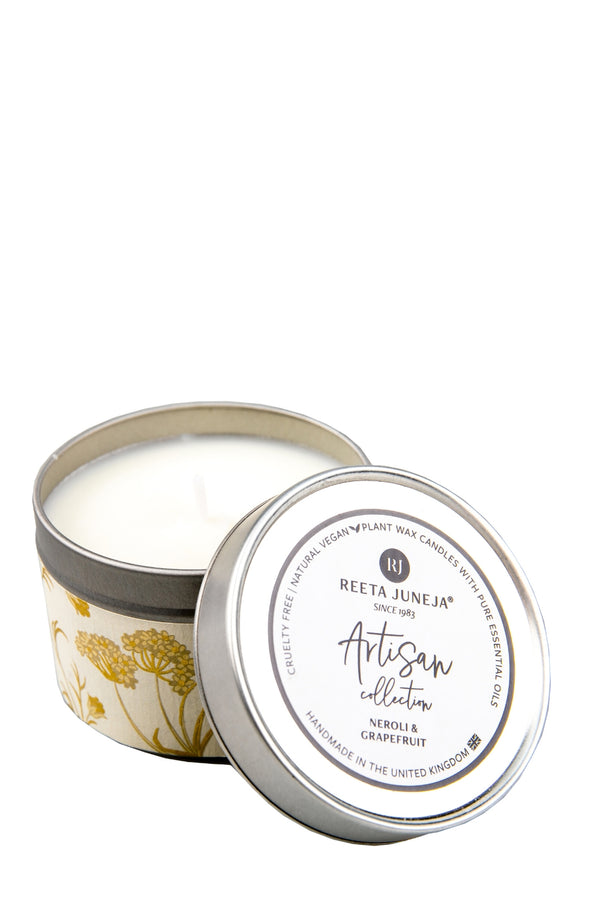 <small>Artisan Collection</small><p>Neroli & Grapefruit Travel Candle</p><p><small>(96 g / 3.4 oz)</small></p> - Reeta Juneja
