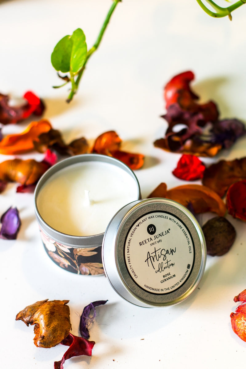 <small>Artisan Collection</small><p>Rose Geranium Travel Candle</p><p><small>(96 g / 3.4 oz)</small></p> - Reeta Juneja