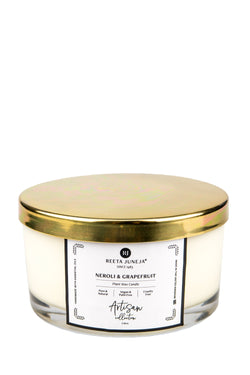 <small>Artisan Collection</small><p>Neroli & Grapefruit Home Candle</p><p><small>(386 g / 13.6 oz)</small></p> - Reeta Juneja