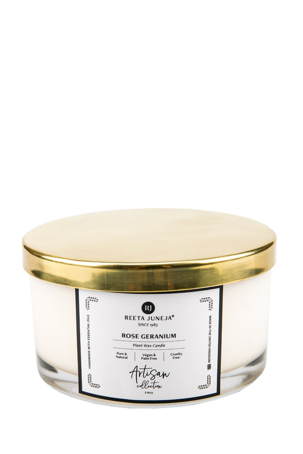 <small>Artisan Collection</small><p>Rose Geranium Home Candle</p><p><small>(386 g / 13.6 oz)</small></p> - Reeta Juneja
