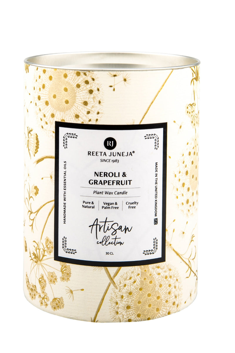 <small>Artisan Collection</small><p>Neroli & Grapefruit Room Candle</p><p><small>(200 g / 7 oz)</small></p> - Reeta Juneja