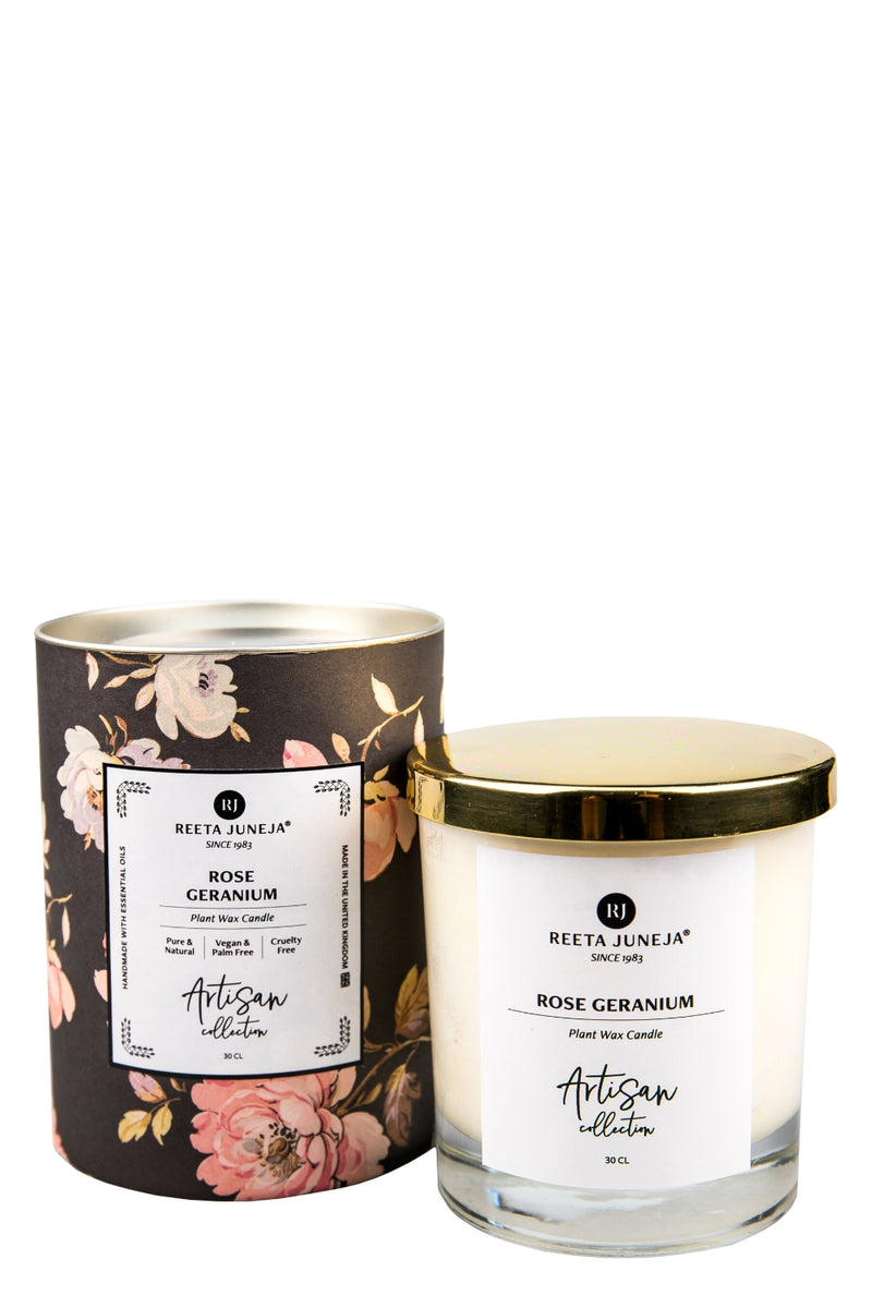 <small>Artisan Collection</small><p>Rose Geranium Room Candle</p><p><small>(200 g / 7 oz)</small></p> - Reeta Juneja