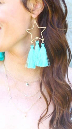 Baby You're a Star Turquoise Tassel Earring