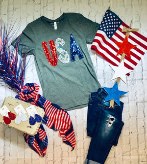 USA Sequin V-Neck Tee