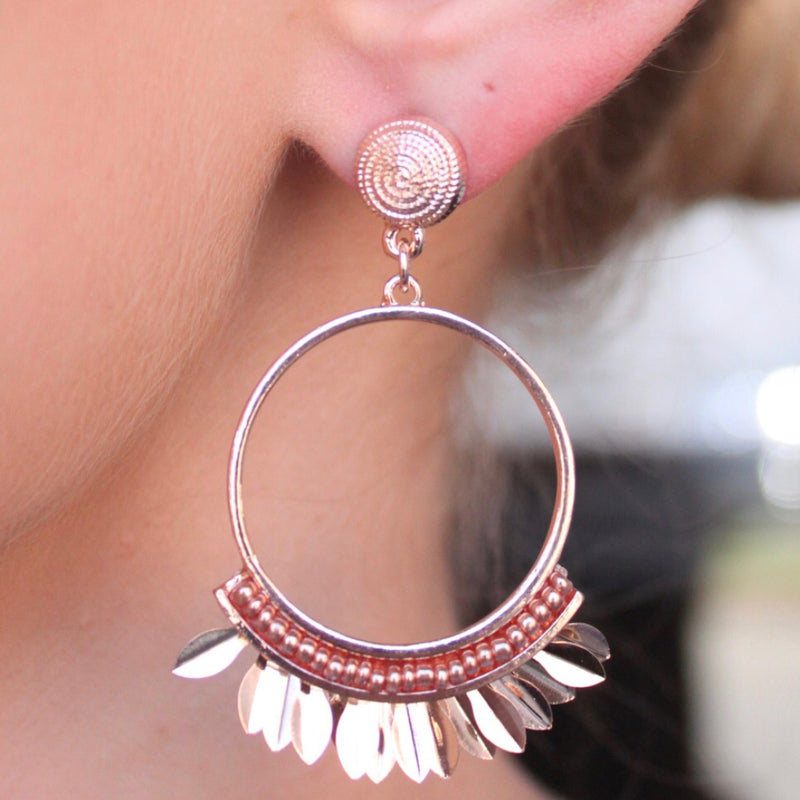 Ashley Rose Gold Hoop And Feather Drop Earrings