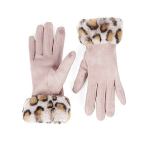 Leopard Faux Fur Cuff Touchscreen Gloves
