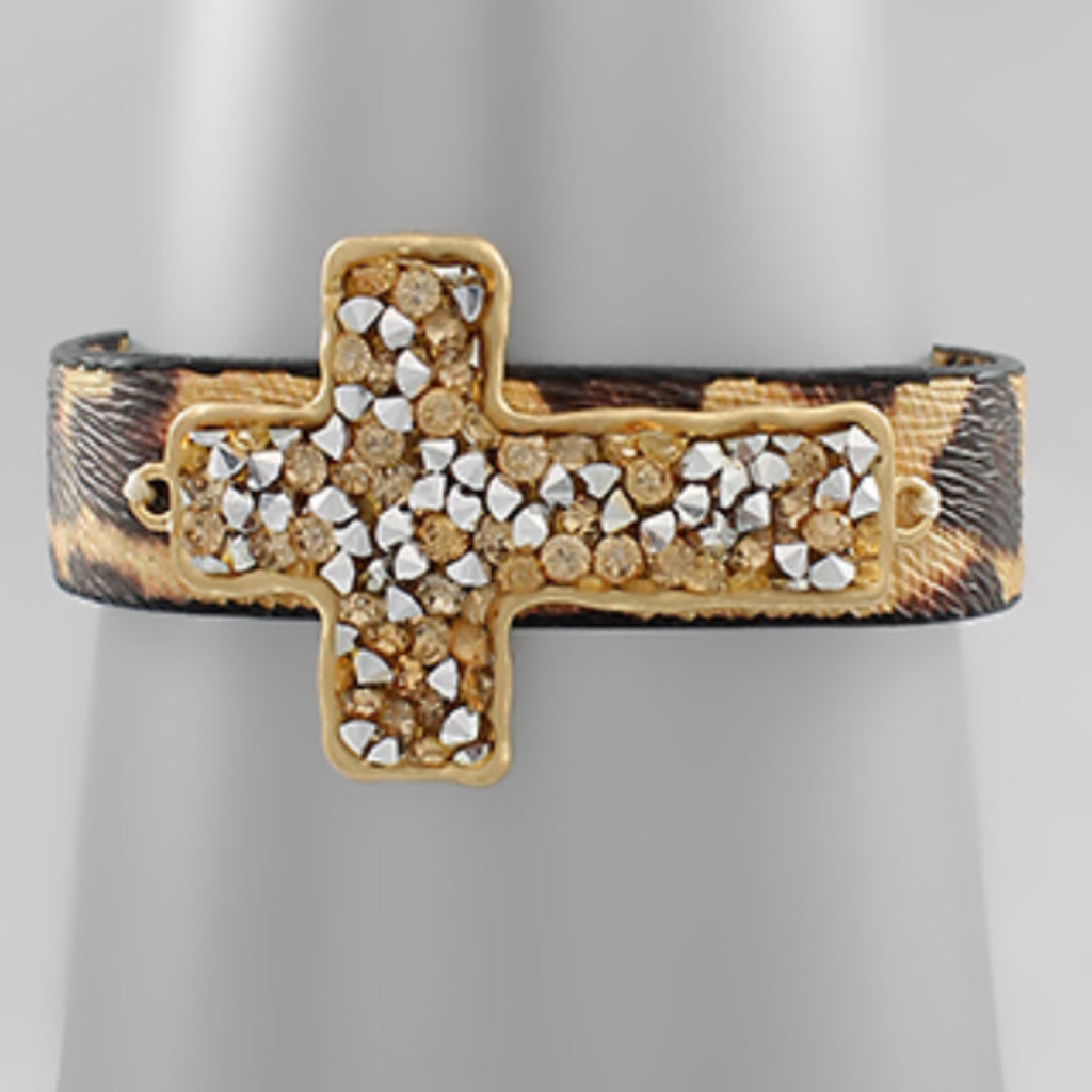 Crushed Stone Cross Bracelet