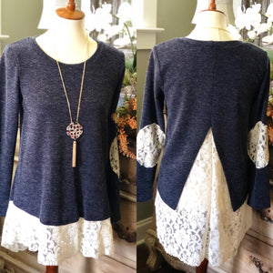 LACE IN LOVE LONG SLEEVE SWEATER BLUE/GRAY