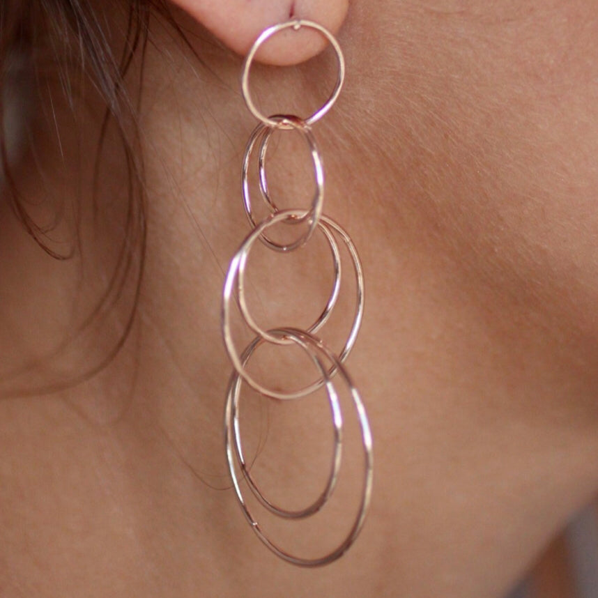 Rose Gold Entwined Circle Earrings