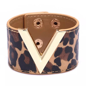 Women's Wide Cuff V Shape Leather Bracelet