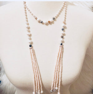 Beaded Tassel Wrap Long Necklace