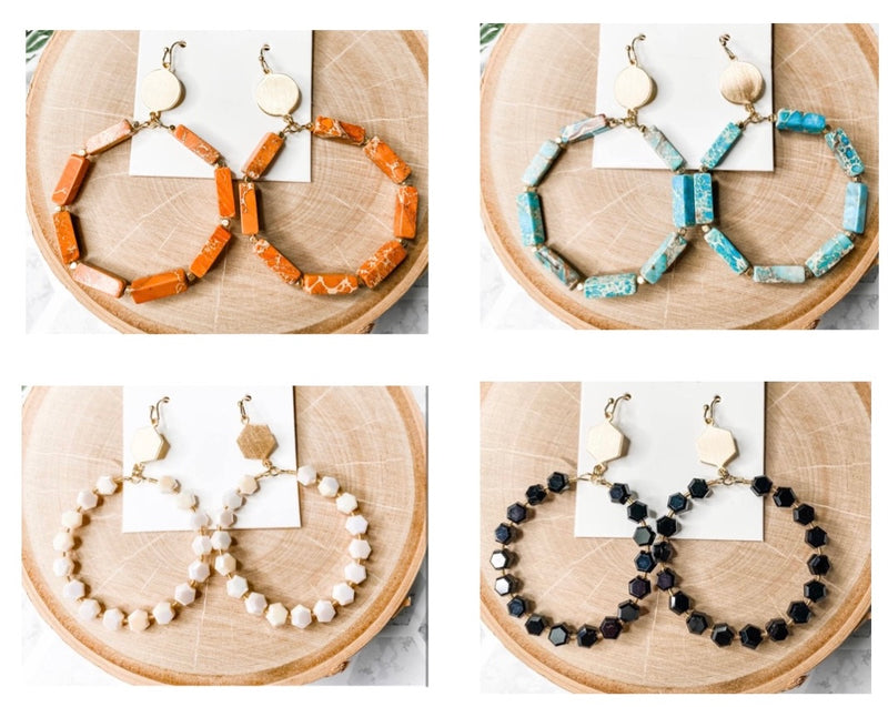 Stone Hoop Earrings