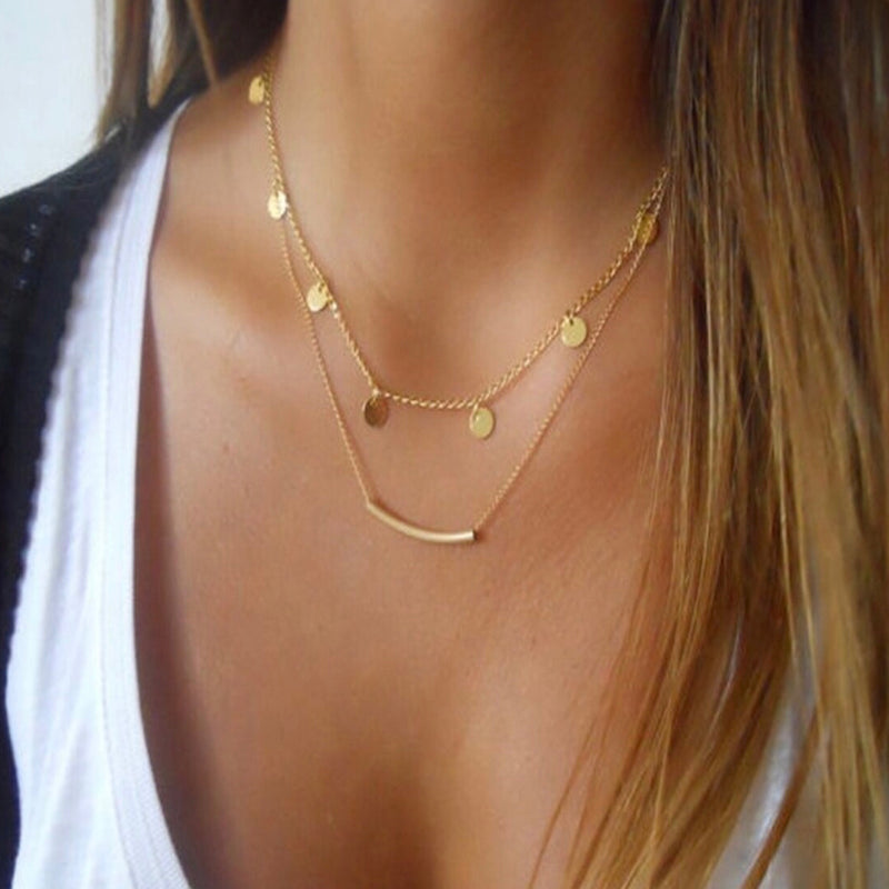 Double Layer Bar And Disc Necklace