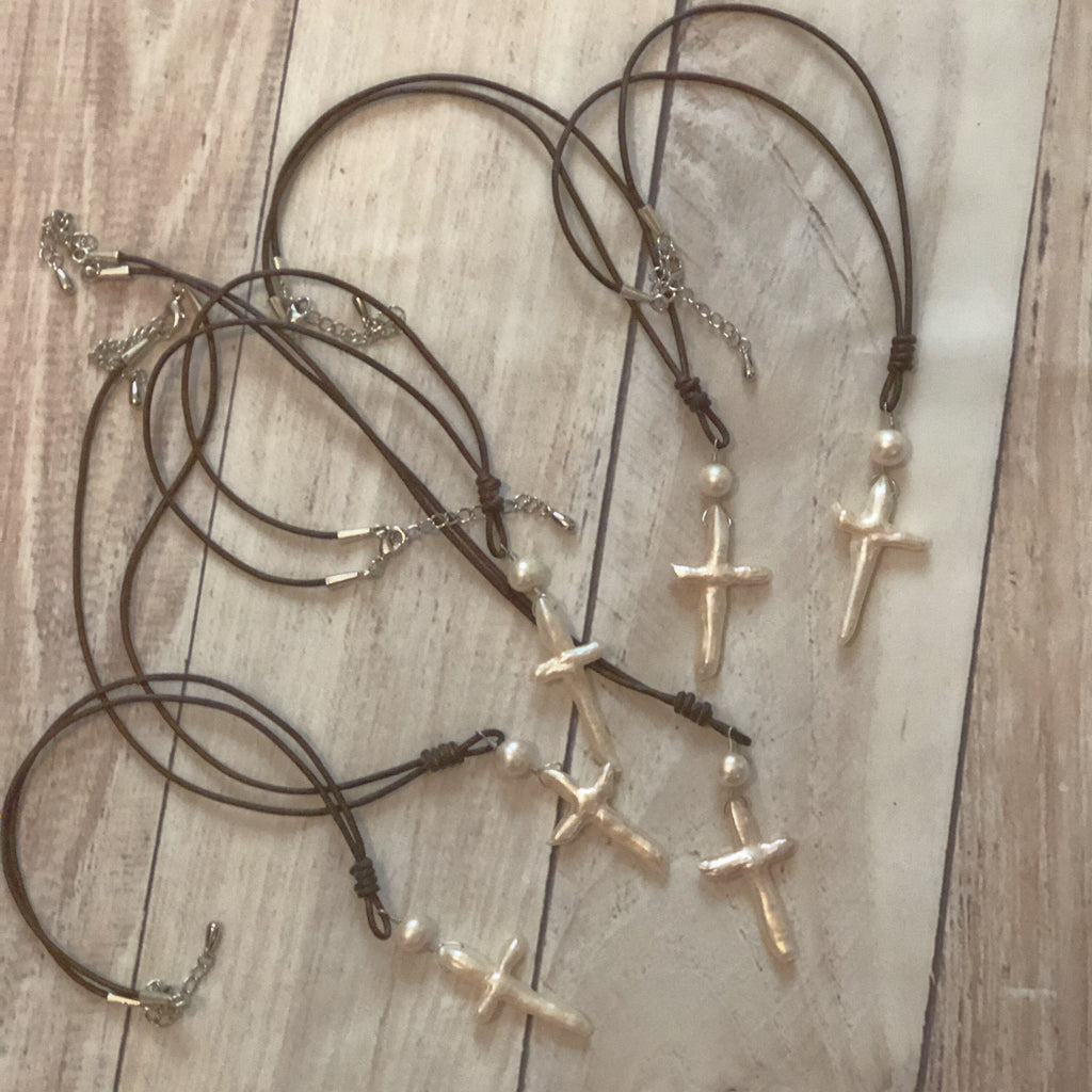 Leather And  Freshwater Pearl Cross Necklace