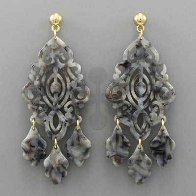 Acrylic Filigree Gray Marble Earrings