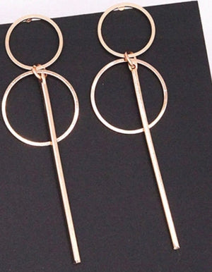 Gold Double Hoop and Bar Earrings