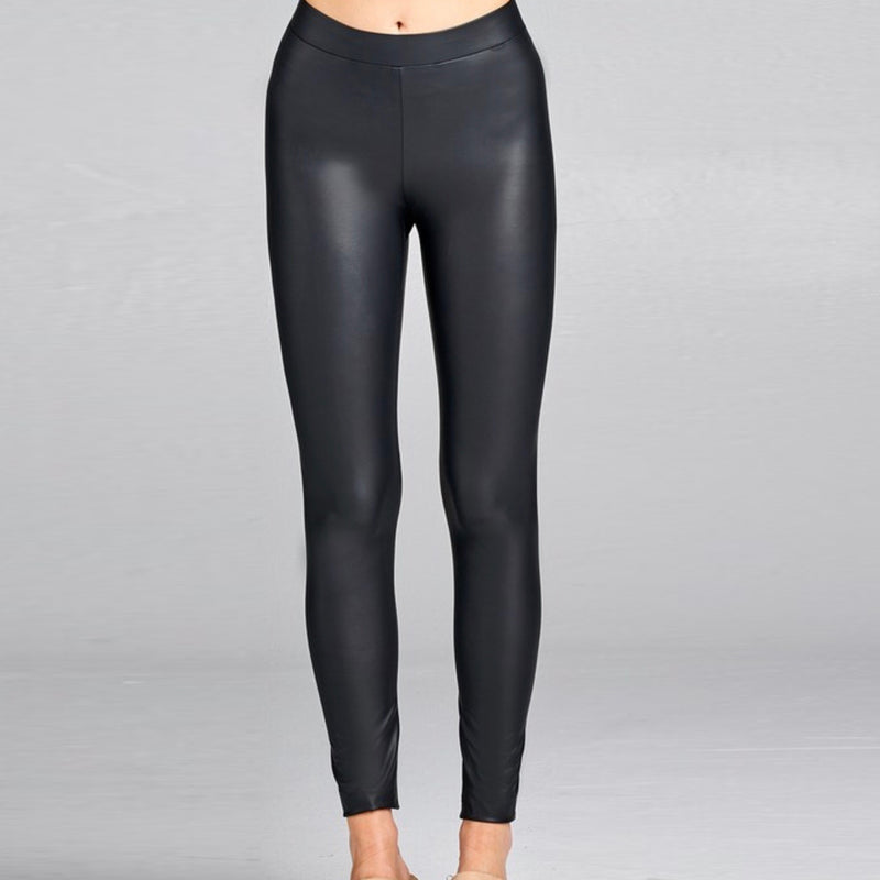 BLACK  FAUX LEATHER -PLEATHER LEGGINGS
