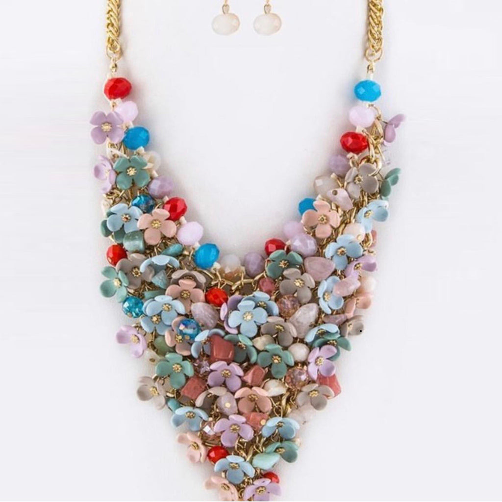 Bead and Resin Flower Statement  Necklace