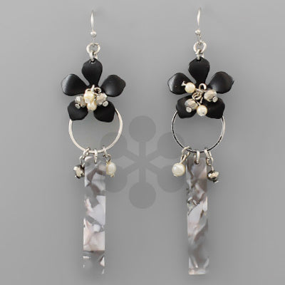 Black & Rhodium Acrylic Flower Bar Earrings