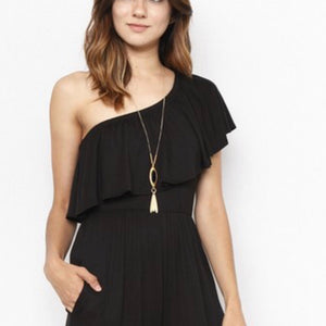 Jillian Black One Shoulder Ruffle Jumpsuit