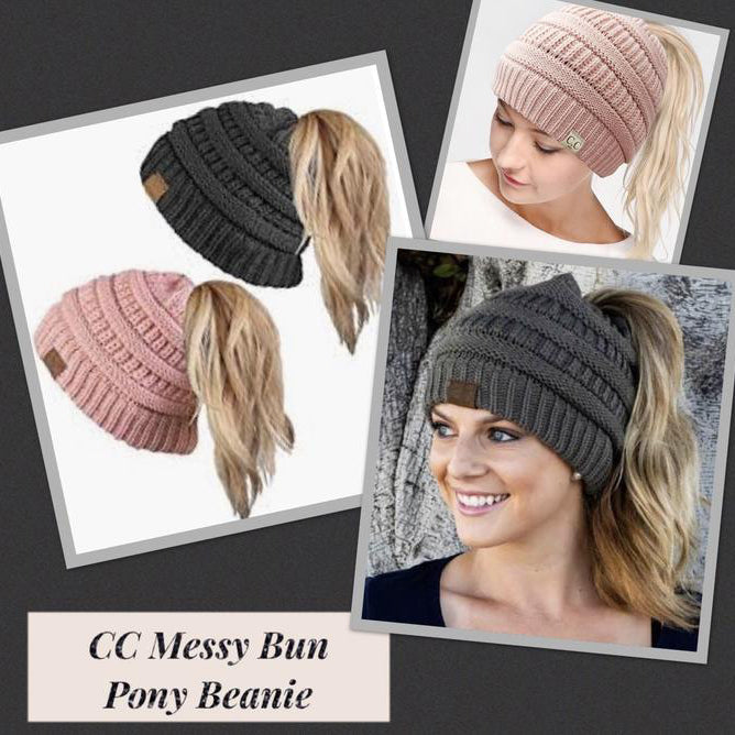 CC Messy Bun Ponytail Beanies : Indie Pink or Charcoal Gray