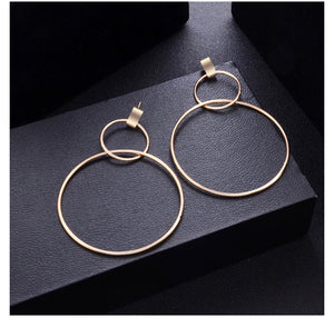 Geometric Double Hoop Dangle Earrings