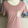 Dusty Rose Sequin Pocket T-Shirt