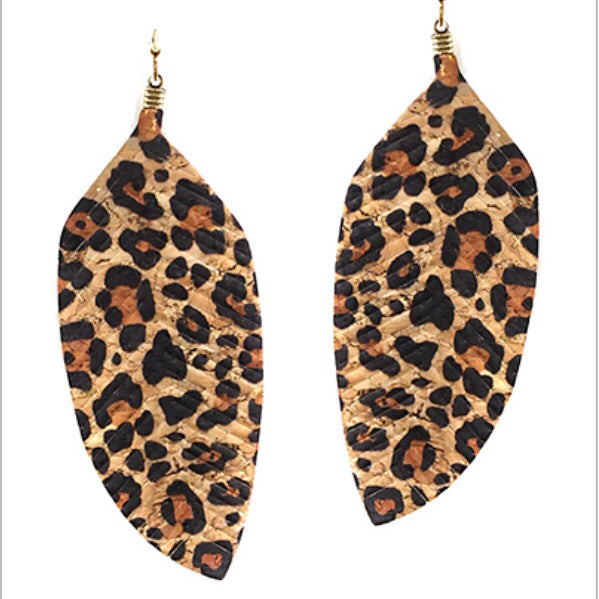 Leopard Print Feather Earrings