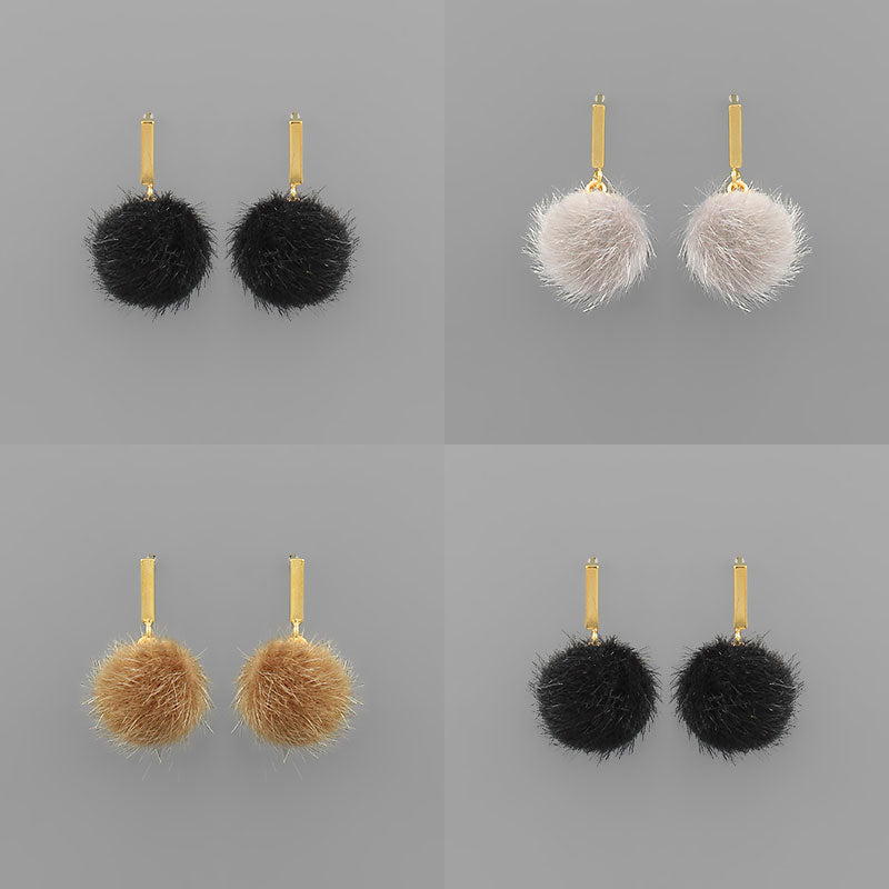 Pom Pom Fur Earrings